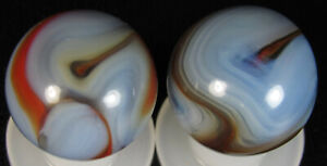 2 Beautiful St Mary's Alley Agate Ghost Marbles - 5/8 inches
