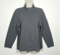L.L. Bean Women Size Large Gray Full Zip Jacket Fleece Mock Neck Zipped Pockets