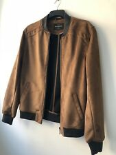 River Island Tan Suede Mens Bomber Jacket Size Medium