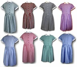 Traditional School Uniform Candy Stripe & Gingham Summer Dresses - Adult Sizes
