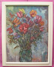 Expressionismus Gemälde Blumen Joles Bickel-Schultheiss A. Troffac Dachau ~1950