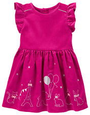 NWT Gymboree STARRY NIGHT Fuchsia Animal Party Ruffled Corduroy SS Dress~3T~