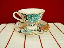 Grace's Teaware Retro Floral  6oz Footed Teacup & Saucer Set Blue/Purple New