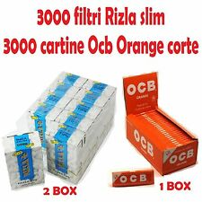 3000 FILTRI RIZLA SLIM<br />3000 CARTINE OCB ORANGE CORTE ARANCIONI  + accendino