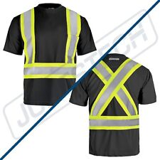 Hi Vis Black Shirt Ansi Class 1 Reflective Safety Short Sleeve High Visibility
