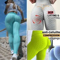 Women High Waist Yoga Pants  Push Up Ruched Sports Fitness Leggings Trousers A17