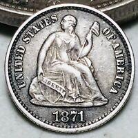 1871 Seated Liberty Half Dime 5C High Grade Choice Good US Silver Coin CC5579