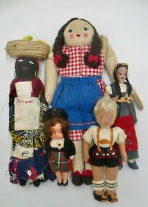 Vintage Group of Dolls in Mexican and Central American Costumes