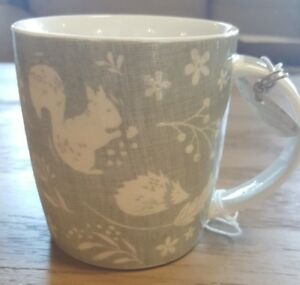 Cooskmart Woodland Collection Grey Mug, Hedgehog / Squirrel / Pheasant
