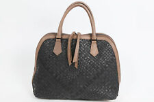 FALOR Black Beige Woven Large Leath