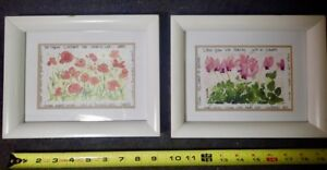 Lot of 2 Watercolor Flower Prints in White Wood Frames Modern Wall Decor 9 x 7.5