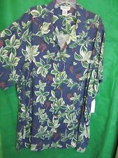 Shirt, Mens Tropical 4XL KING SIZE Blue White Green Leaves Red Berries Rayon @@!