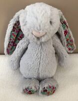 Jellycat Small Bashful Silver Blossom Bunny Rabbit Soft Toy Comforter Red Green
