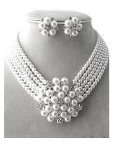 Schmuckanthony Audrey Kette Clips Ohrringe Ohrclips Perlen Weiß Kristall Klar