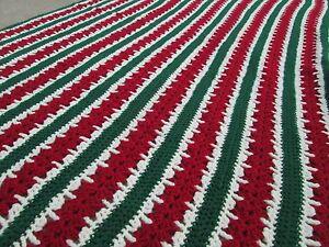 "Vintage 44""x63"" Christmas Red Green Watermelon Sripes Retro Crochet Afghan Throw"