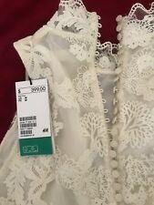 $399 H&M Conscious Exclusive 2018 Off White Lace  Maxi Long Wedding Dress Size S