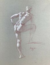 Harry Carmean life drawing of standing male model 1989 white highlights