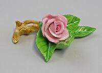 9959606 Porzellan Figur Tischblume Rose Zweig rosa Ens 7,5x7x3,5cm