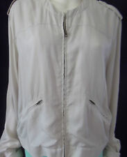TRENERY Womens Cream zipper up Silky Bomber Jacket size 18 - BNWT