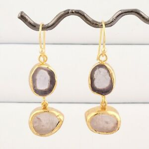 Raw Real Purple Amethyst Rose Quartz Gold Plated Collet Set Drop Dangle Earring