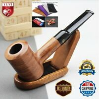 Wooden Handmade Smoking Pipe 9mm Filter Solid Red Wood Straight Tobacco Pipes