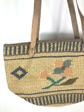Market Bag Purse Woven Knit Vintage Look Jute Scandinavian Style Floral Tote Bag