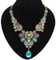 Vintage Fashion Women Choker Chain Pendant Statement Necklace Collar Bib Crystal
