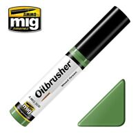 Ammo of Mig Oilbrusher Weed Green - Oil Paint with Fine Brush Applicator #3530