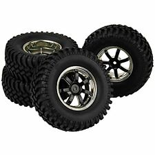 RC1:10 Off-Road Car black-plated 7 Spoke Wheel Rims & Black 100mm Tires set of 4
