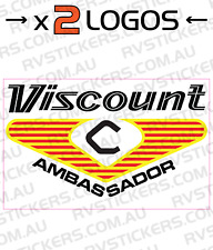 2x VISCOUNT 1970s AMBASSADOR SQUARE LOGO vintage retro Caravan decal