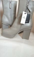 ZARA GREY LEATHER ANKLE BOOTS WITH LINED PLATFORM SIZE UK 7 EU 40 RRP £79.99