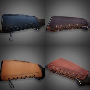 Leather Buttstock Holder Stock Gun Cover Padded Cheek Rest Gifts for Hunters