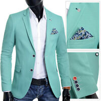 Men's Summer Blazer Jacket Casual Formal Spotted Mint Green Vivid UK Size Cotton