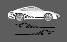 Fits Porsche 911 Chequer Flag Style Side Decal Stripe Set (996, 997, 991, 993)