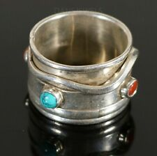 Old Pawn Vintage NAVAJO Sterling SPINNER Coral Turquoise Ring BAND SZ 10