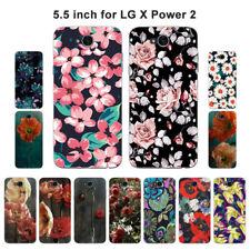 Morbido poliuretano termoplastico Custodia in Silicone per LG Power 2 Protettiva X Telefono Cover pelle floreale