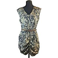 French Connection Women Size 10 Floral Sleeveless Ruched Front Belt Zipper Dress