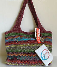 NEW THE SAK VALLEY CROCHET NOMAD STRIPE TOTE SHOULDER BAG W /COIN PURSE $89 SALE