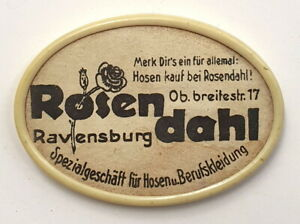 Taschenspiegel antik, Werbung Rosendahl Berufskleidung Ravensburg, oval, D 30er