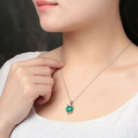 Fox Pendants Collarbone Necklace Natural Green Chalcedony Woman Pendant Silver