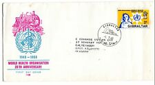 1968 Gibraltar FDC 20th Anniversary of the World Health Organisation to UK