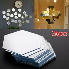 24pcs Mirror Glass Tile Wall Stickers Decal Mosaic Home Decor Self Adhesive