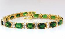 21.68CT NATURAL VIVID BRIGHT GREEN TSAVORITE DIAMONDS TENNIS BRACELET +