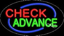 "New ""Check Advance"" 30x17 Oval Solid/Flash Real Neon Sign w/Custom Options 14505"