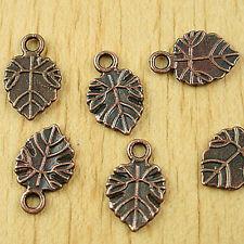 30pcs antiqued copper tone leaf charms h1790