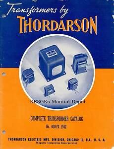 Thordarson Transformers Catalog 1942 *  CDROM *  PDF