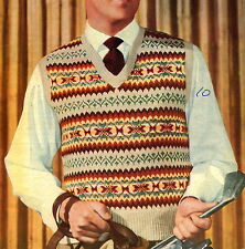 Vintage 1940s fair isle mens pullover to knit knitting pattern 4 ply-UK freepost