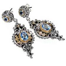 Gerochristo 1338~ Solid Gold, Silver & Blue Topaz ~ Medieval-Byzantine Earrings
