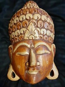 *BUDDHA* large Carved Wood Wall hanging  Plaque Wooden mask style  Head