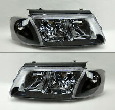 VW Passat 98-00 B5 Euro Black Headlights w/ Corner Lights Pair RH LH